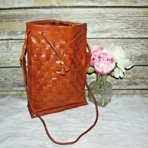 Vintage Brown Leather Woven Drawstring Purse Bag